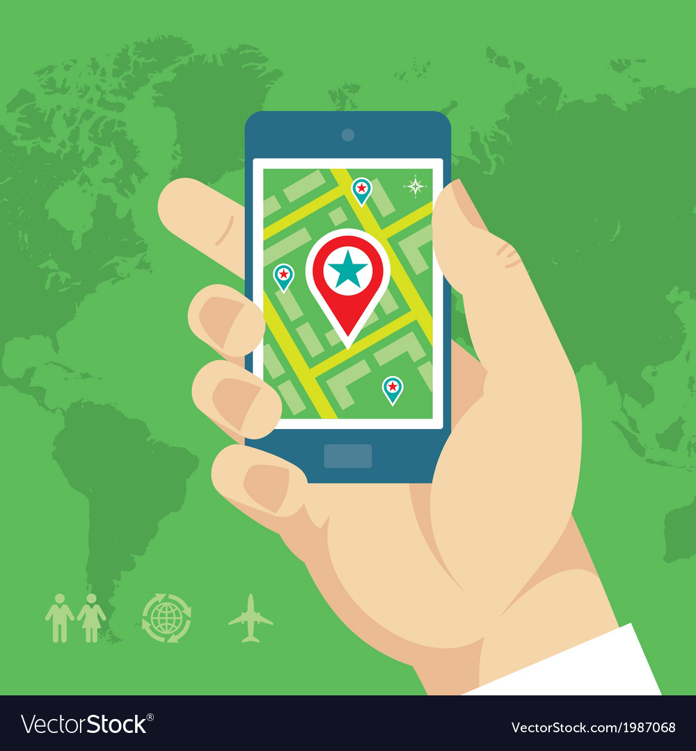 Smartphone with map and location in human hand vector | Price: 1 Credit (USD $1)