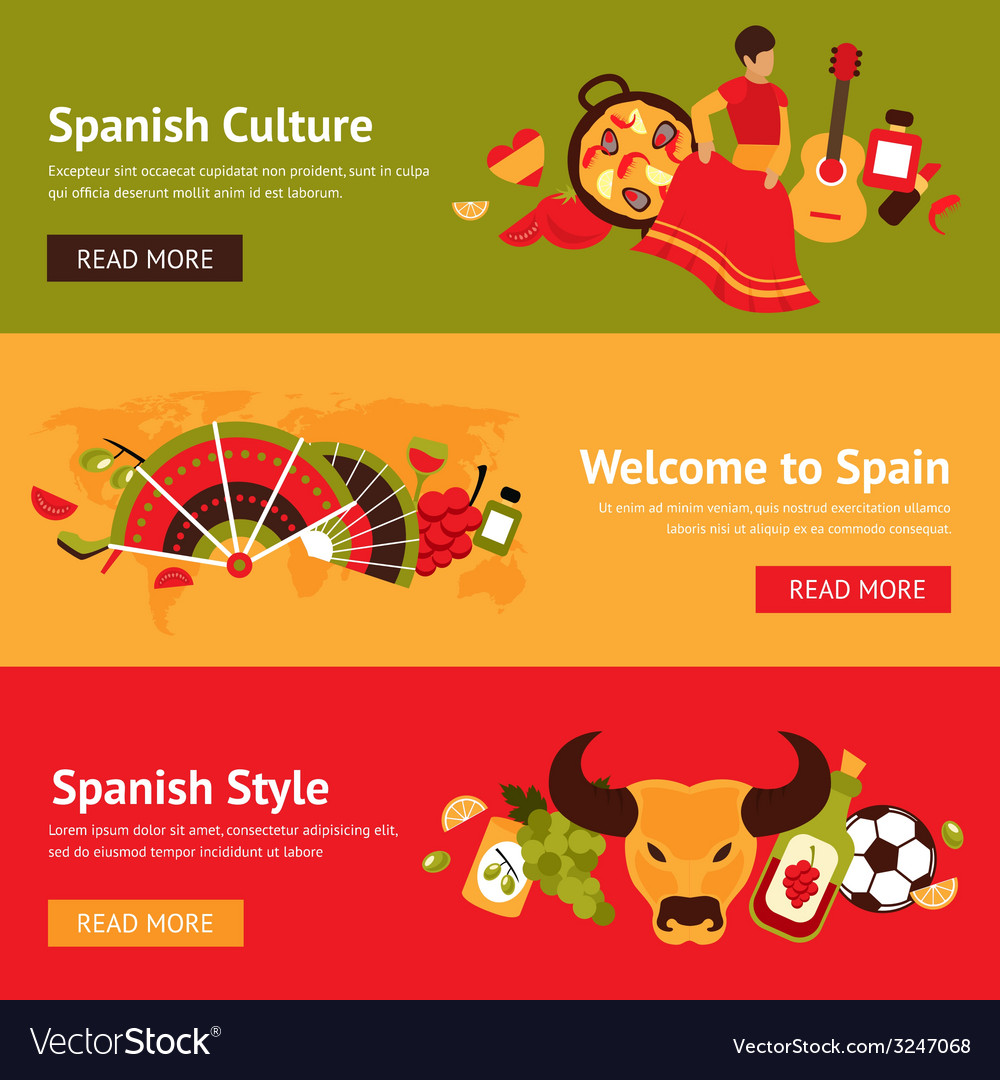 Spain banner set vector | Price: 1 Credit (USD $1)