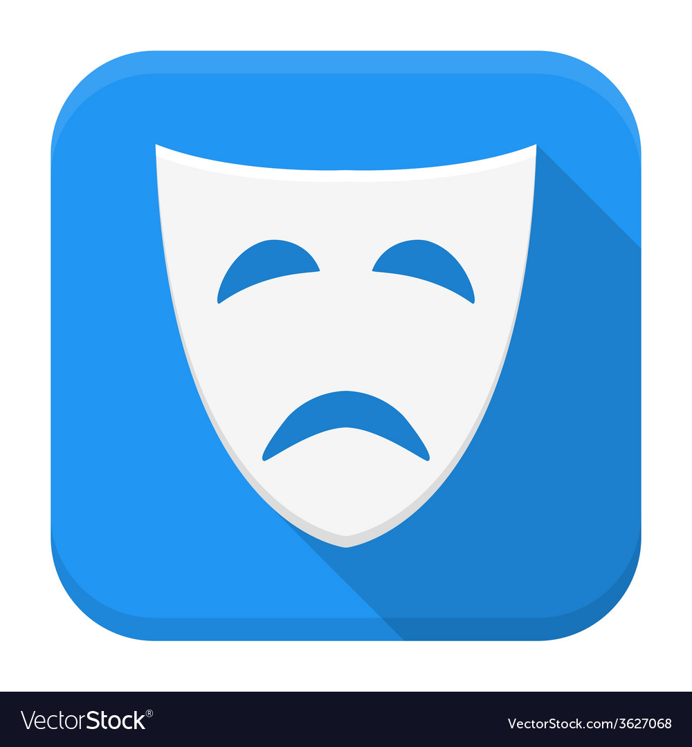 Tragedy mask app icon with long shadow vector | Price: 1 Credit (USD $1)