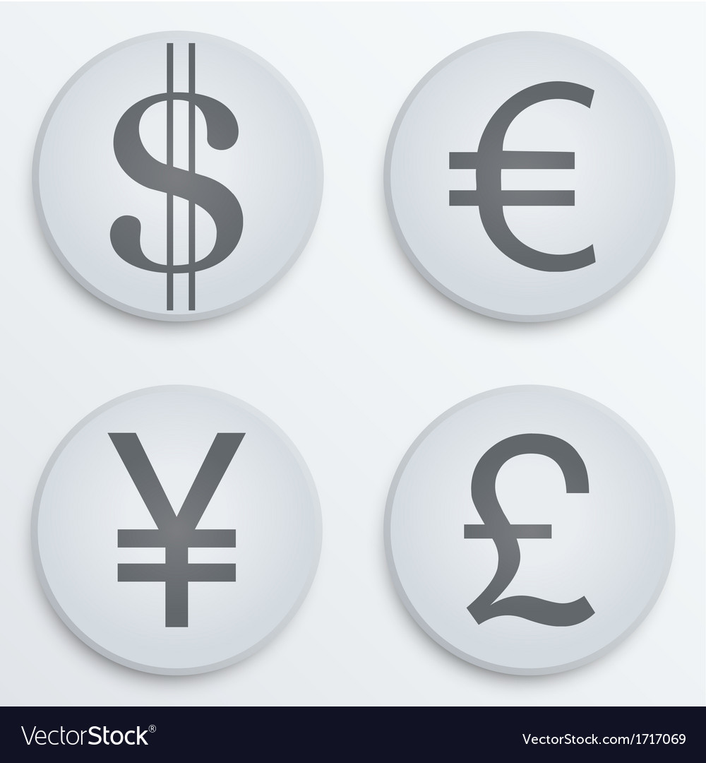 Business flat icons major currencies symbol vector | Price: 1 Credit (USD $1)