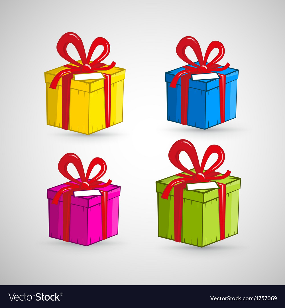 Colorful present boxes isolated on white vector   Price: 1 Credit (USD $1)