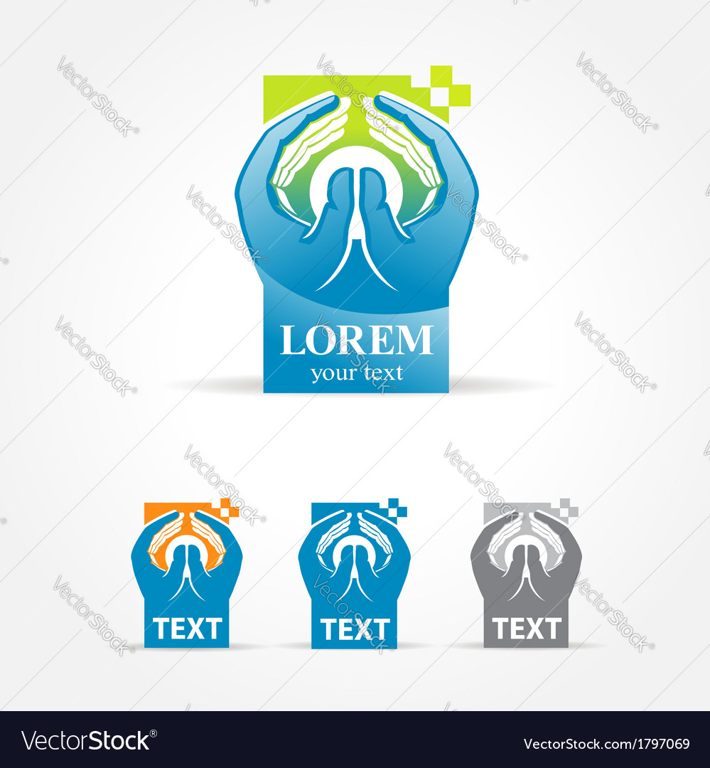 Hands hi-tech symbol emblem sign vector | Price: 1 Credit (USD $1)