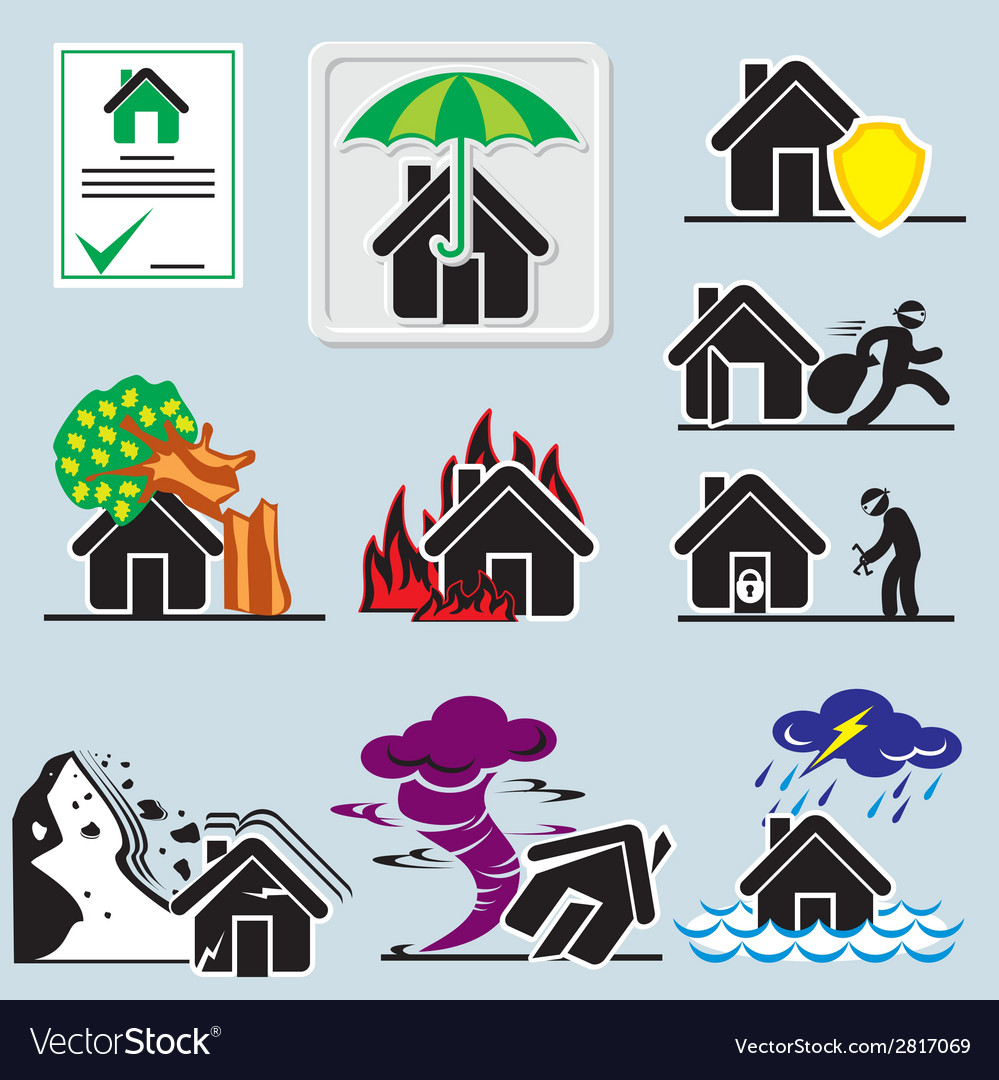 Home insurance icons vs vector | Price: 1 Credit (USD $1)