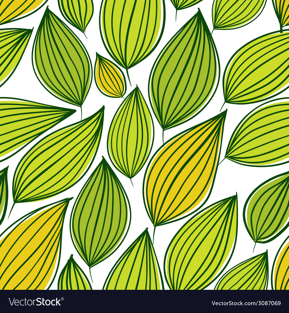 Seamless floral pattern green leaves seamless vector | Price: 1 Credit (USD $1)