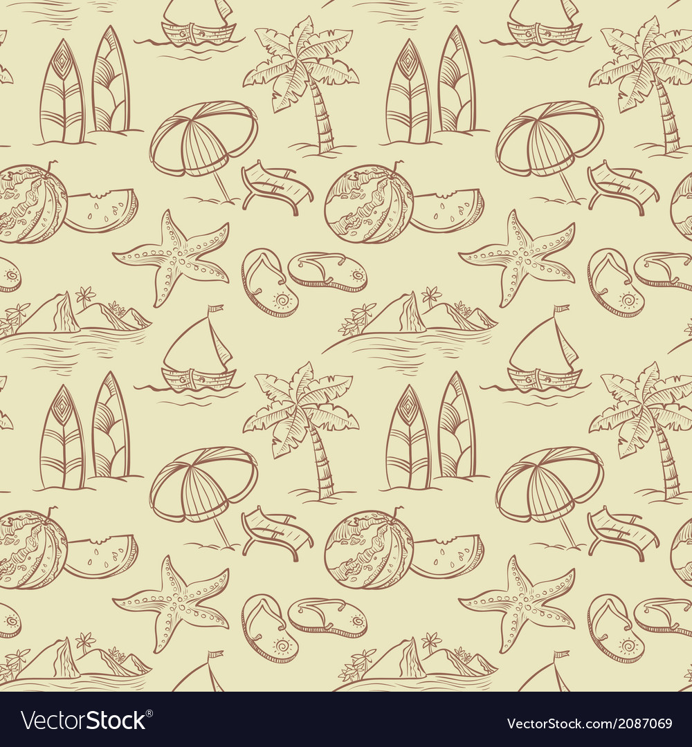 Sketchy summer pattern vector | Price: 1 Credit (USD $1)