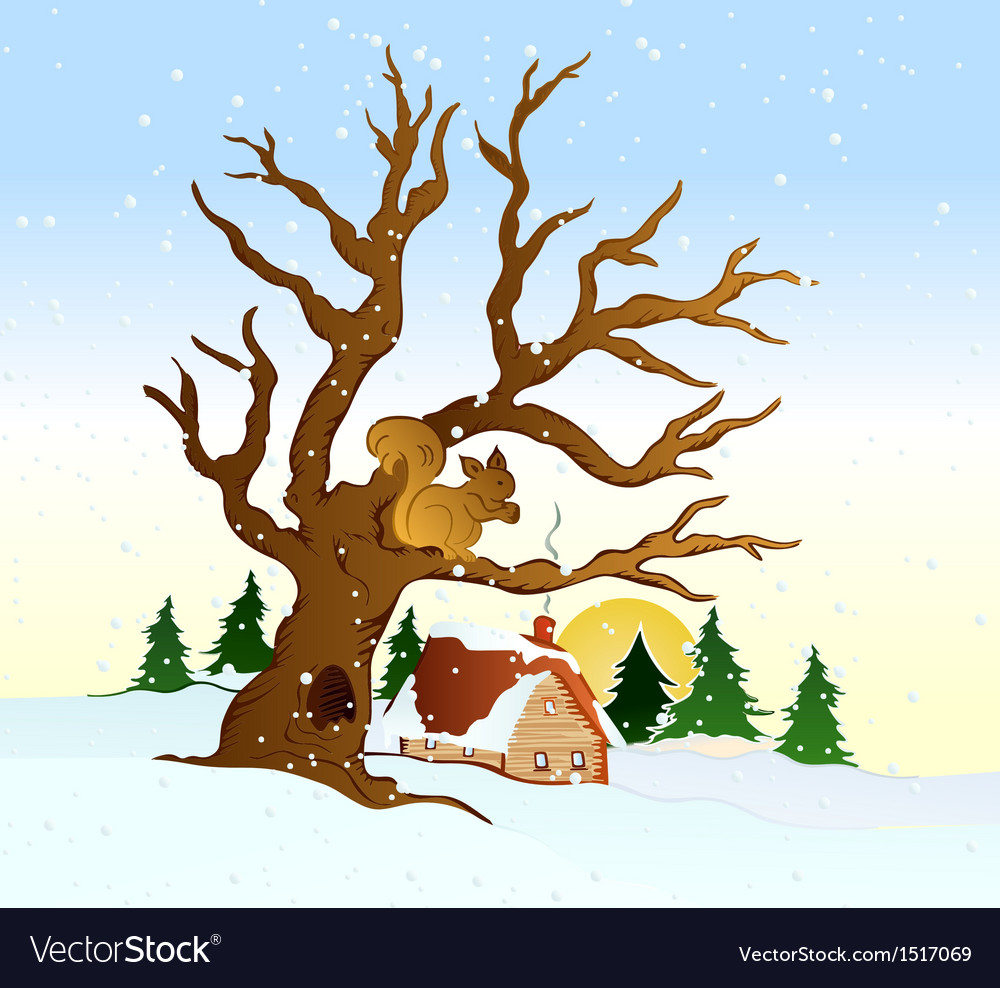 Village winter landscape vector | Price: 1 Credit (USD $1)
