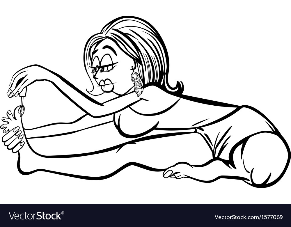 Woman in yoga position cartoon vector | Price: 1 Credit (USD $1)