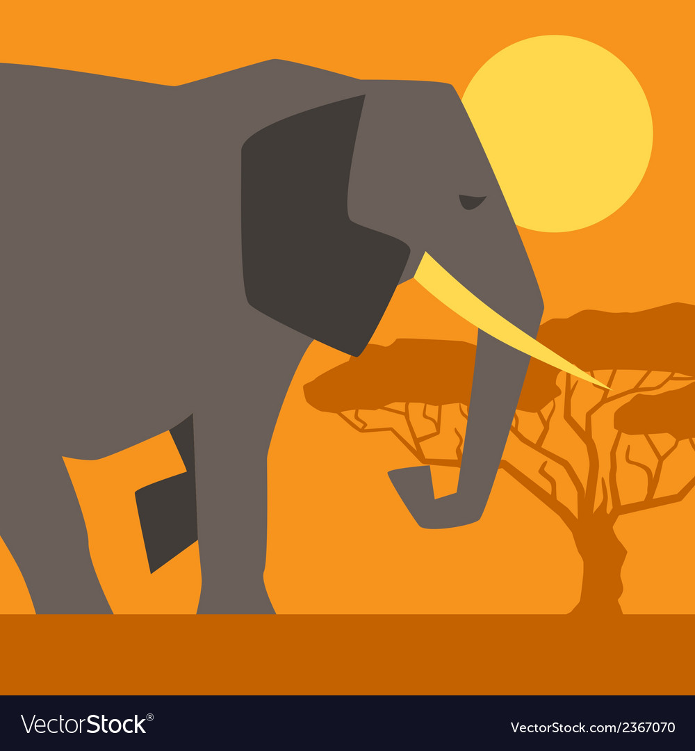 African ethnic background with of elephant vector | Price: 1 Credit (USD $1)