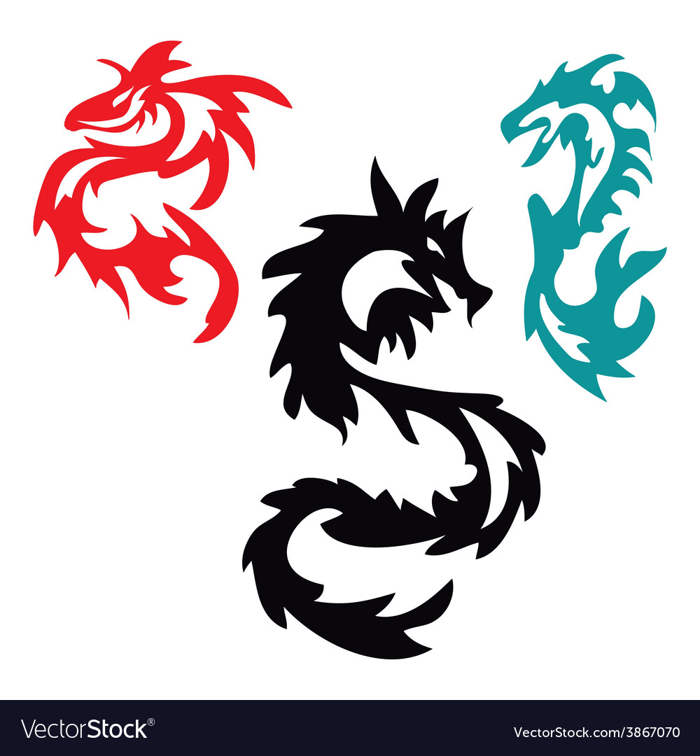 Dragons pattern tribal tattoo vector | Price: 1 Credit (USD $1)