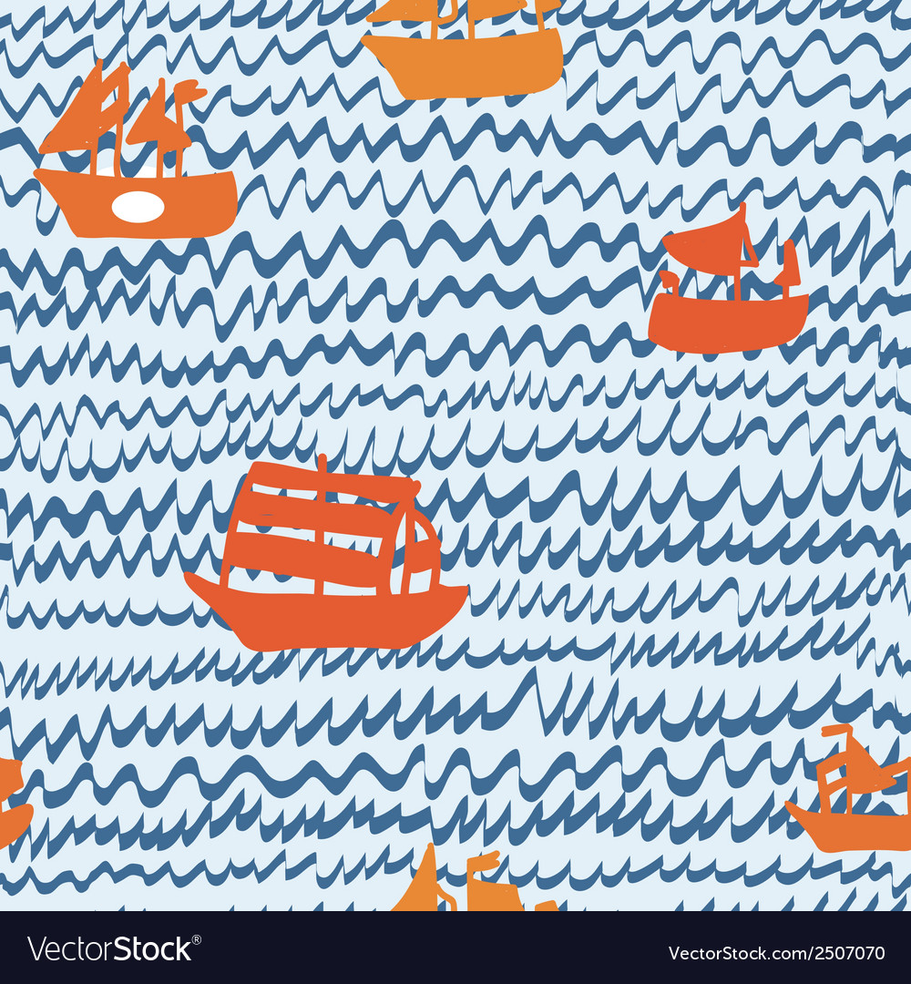 Sea and sailing ships seamless pattern hand drawn vector | Price: 1 Credit (USD $1)