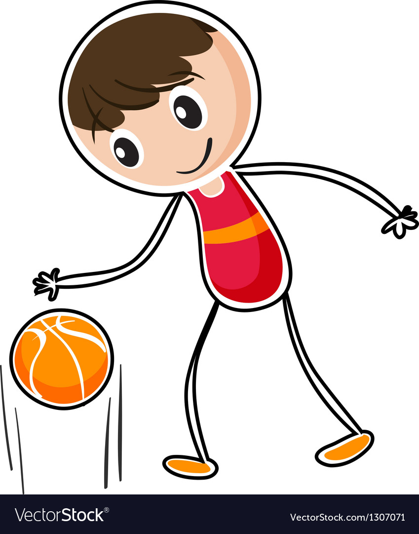 A boy dribbling a ball vector | Price: 1 Credit (USD $1)