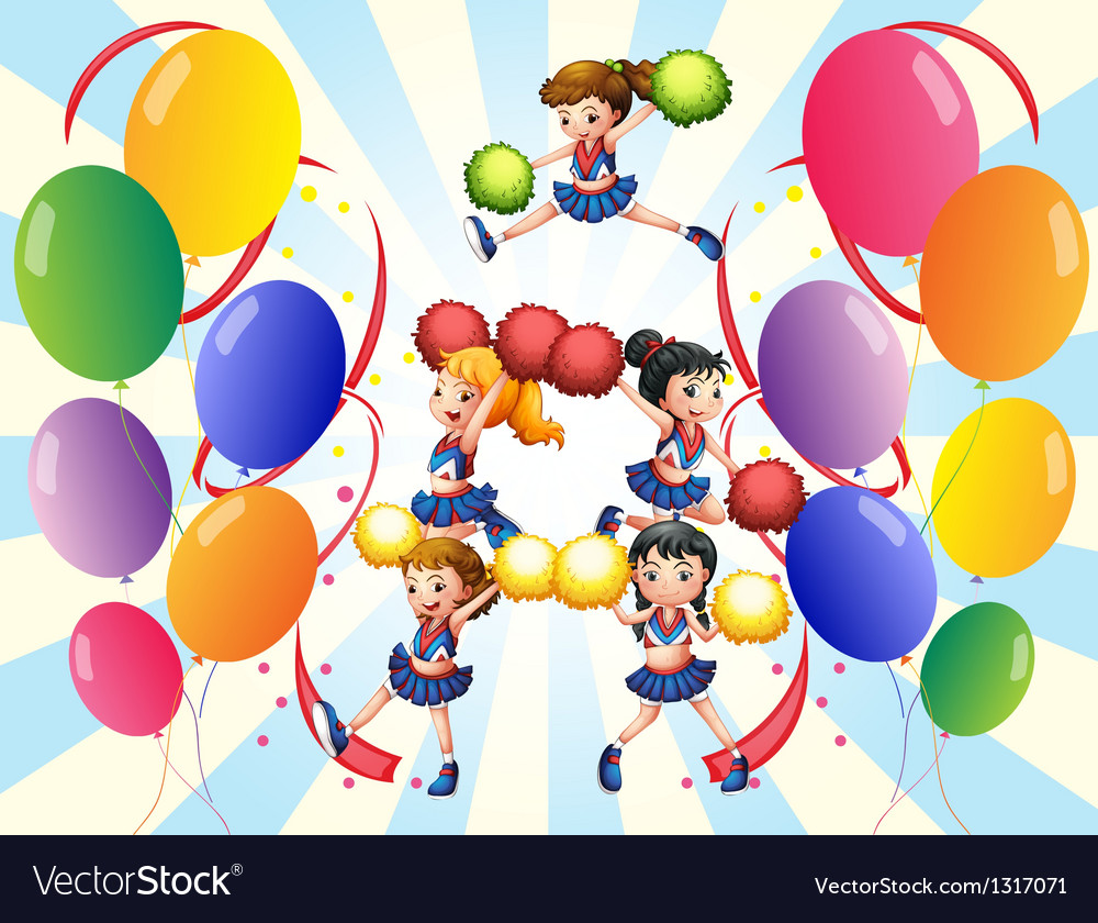 A cheering squad in the middle of the balloons vector | Price: 1 Credit (USD $1)