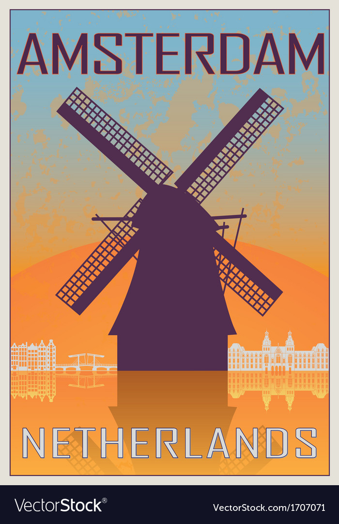 Amsterdam vintage poster vector | Price: 1 Credit (USD $1)