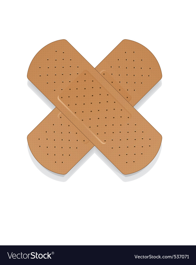 Bandaid on white apply a plaster vector | Price: 1 Credit (USD $1)