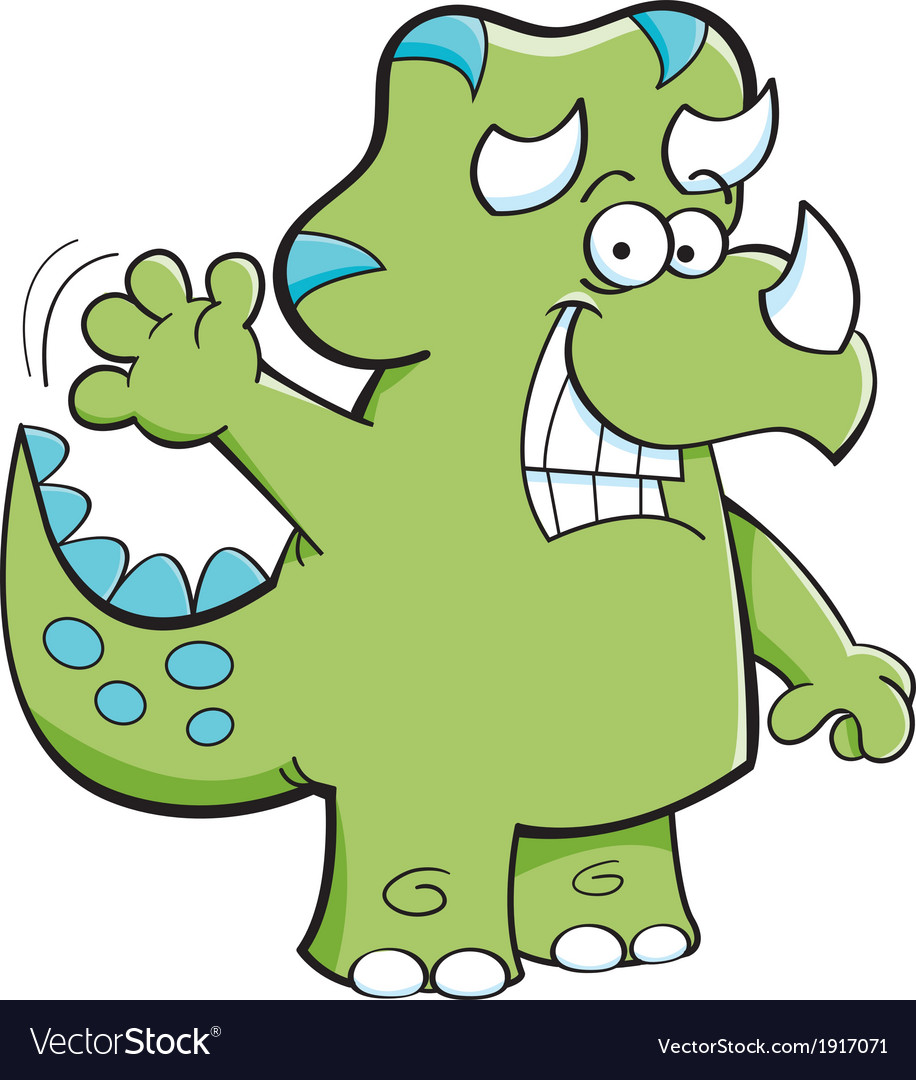 Cartoon triceratops waving vector | Price: 1 Credit (USD $1)