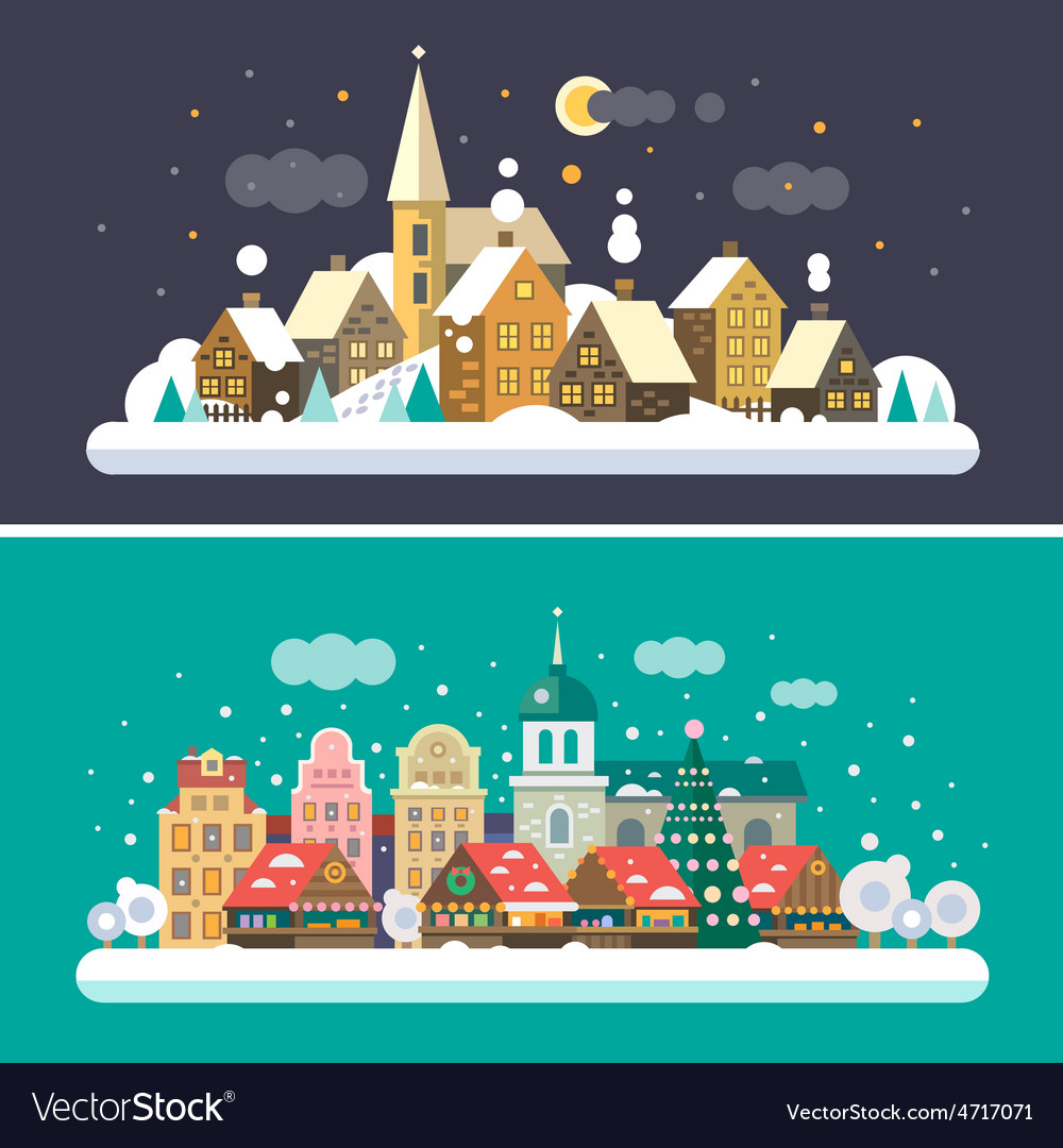 Christmas landscapes vector | Price: 3 Credit (USD $3)