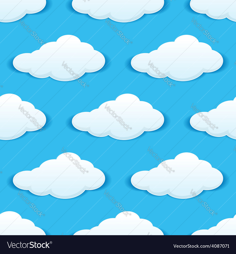 Cloudy sky seamless pattern vector | Price: 1 Credit (USD $1)