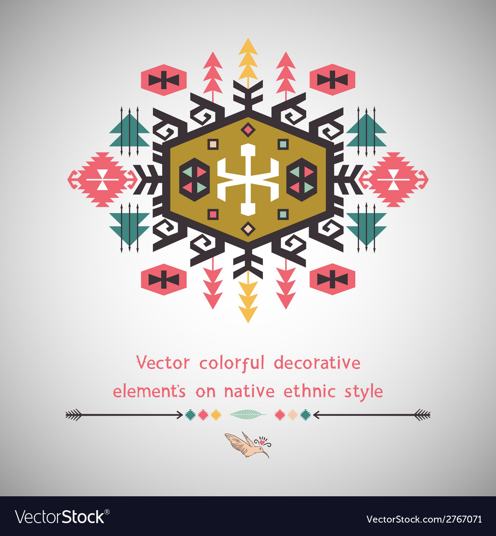 Colorful decorative element on ethnic style vector | Price: 1 Credit (USD $1)