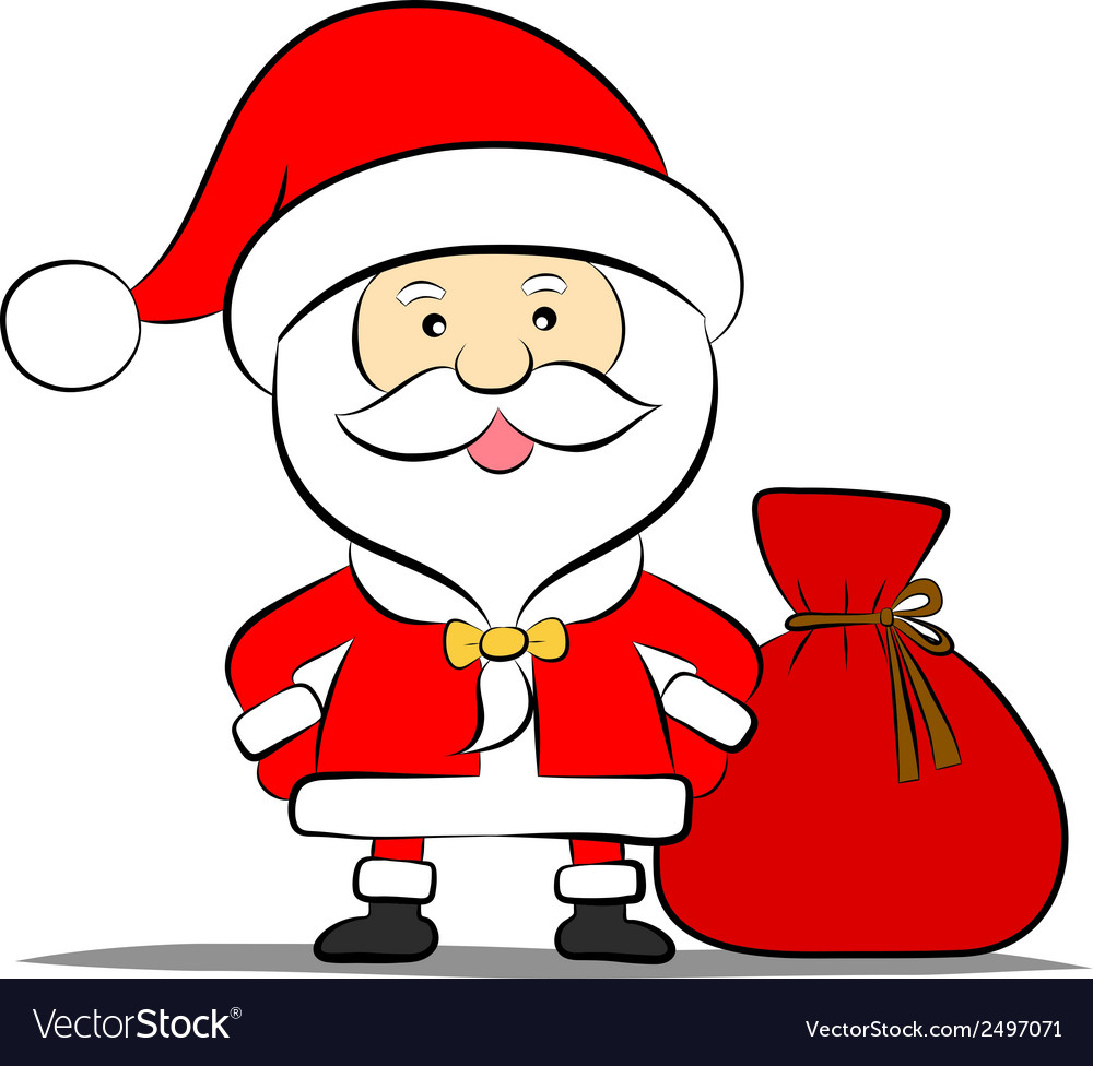 Funny santa claus with bag of gifts vector | Price: 1 Credit (USD $1)