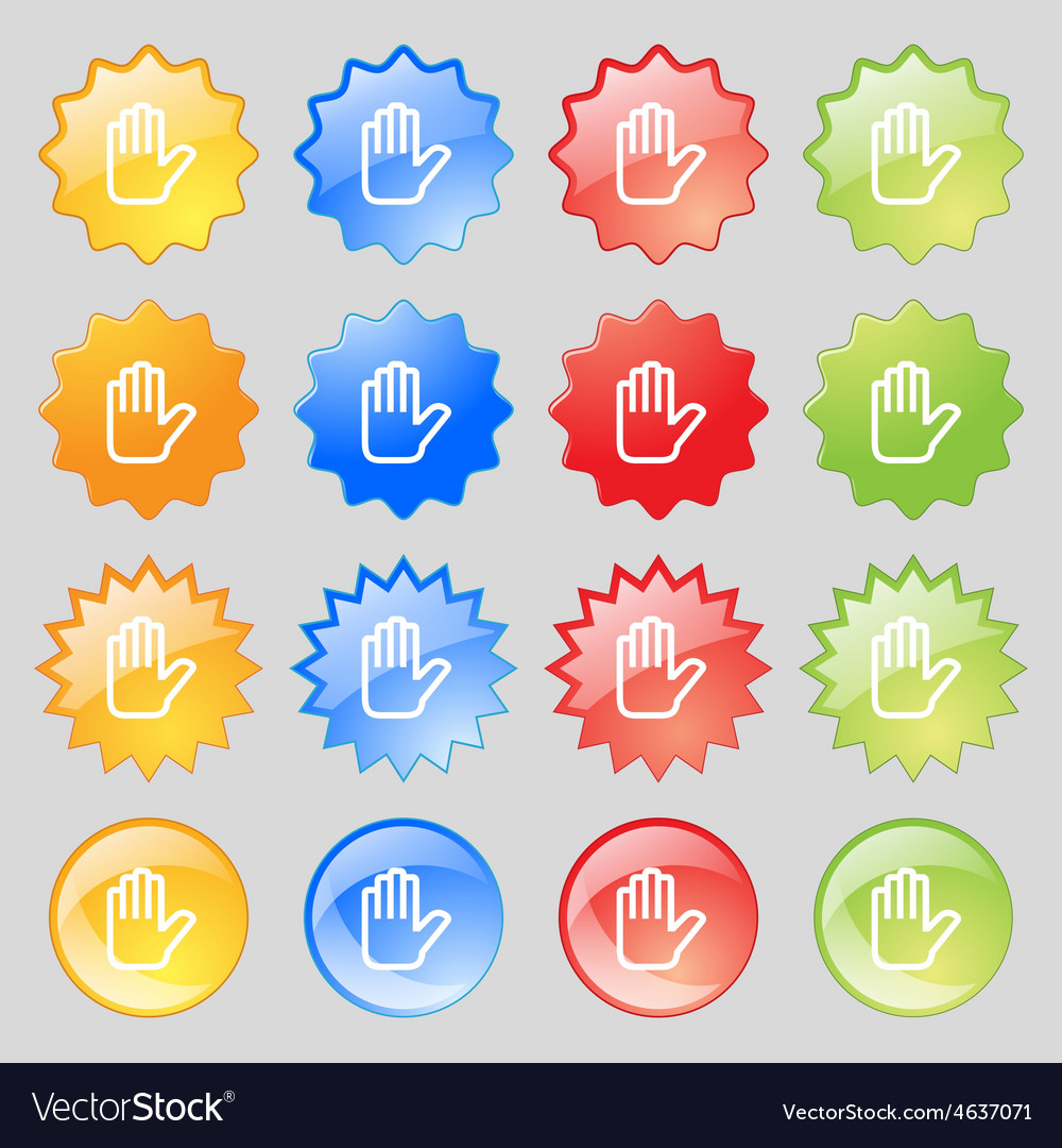 Hand print stop icon sign big set of 16 colorful vector | Price: 1 Credit (USD $1)