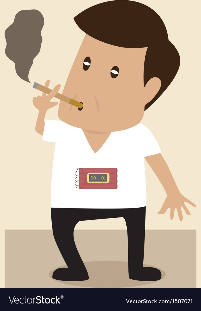 Man is smoking with bomb timer vector | Price: 1 Credit (USD $1)