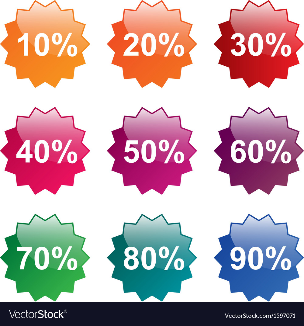 Percent labels vector | Price: 1 Credit (USD $1)