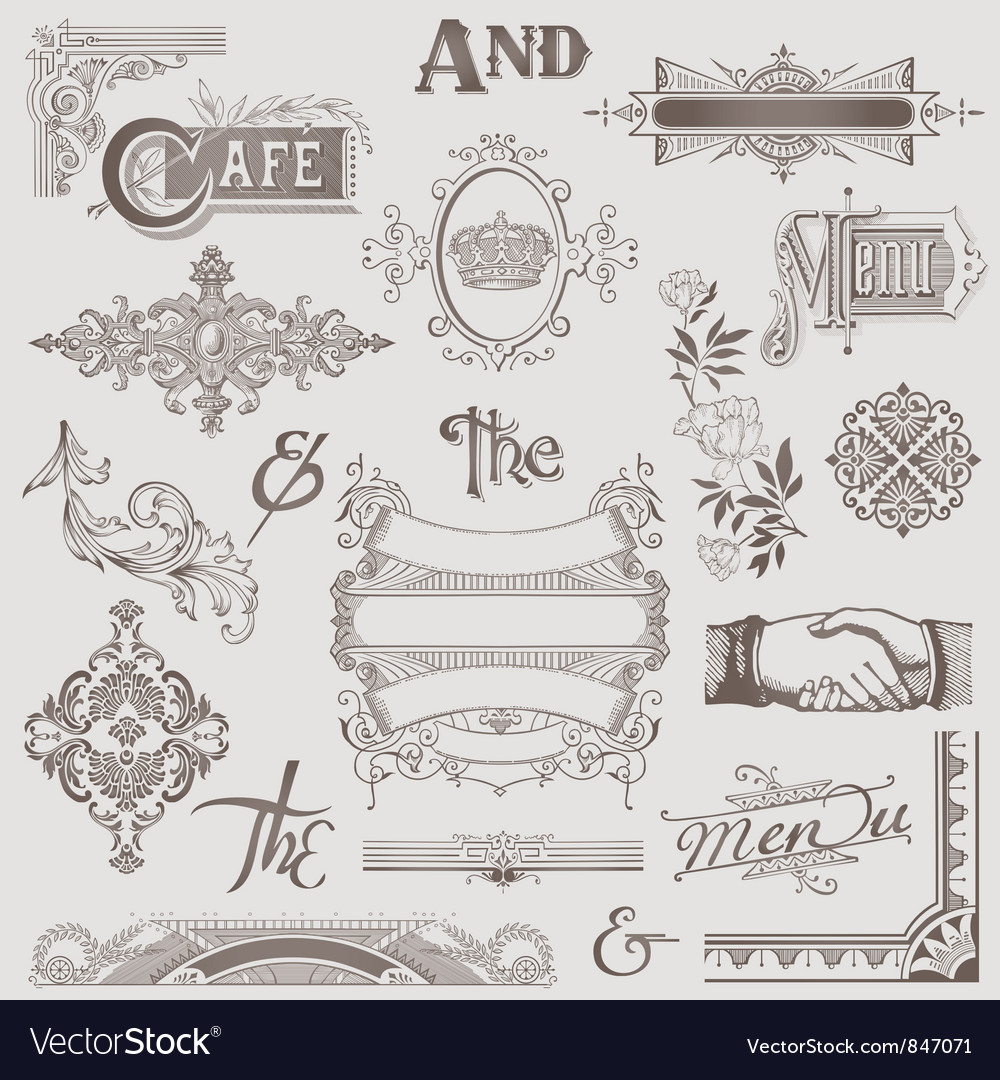 Set various retro design elements vector | Price: 1 Credit (USD $1)