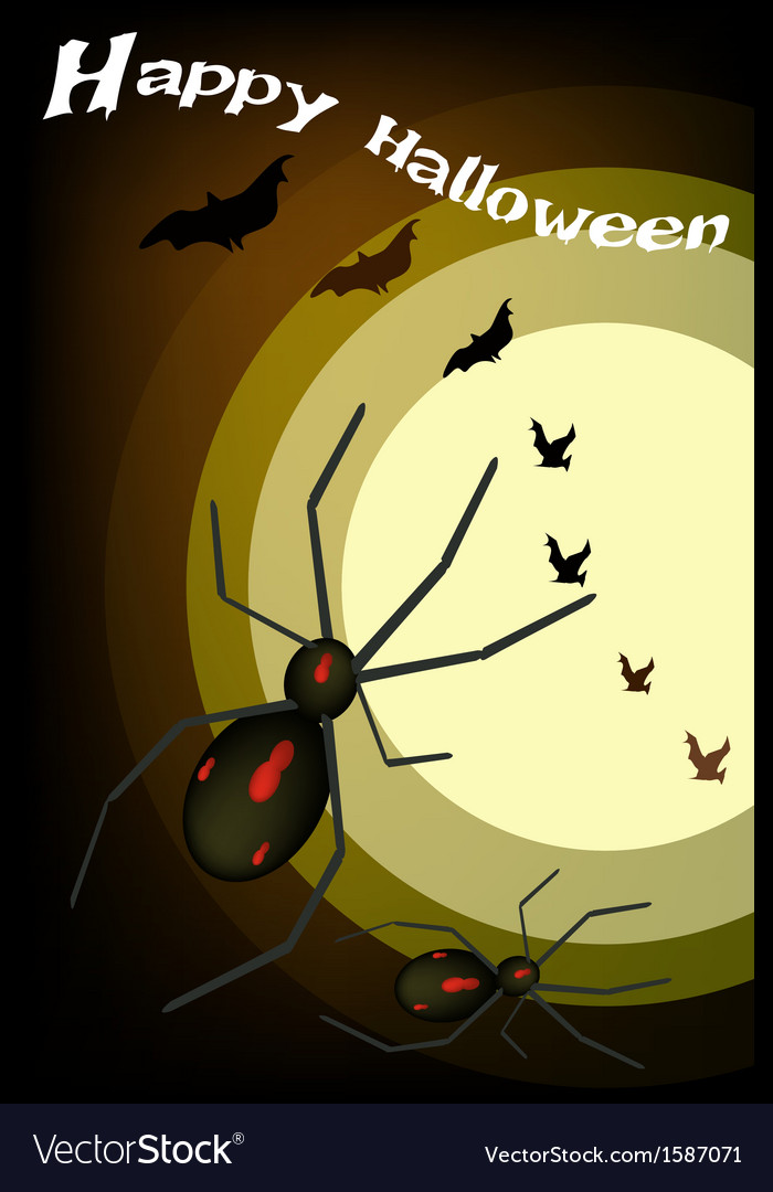Two evil spiders on full moon background vector | Price: 1 Credit (USD $1)