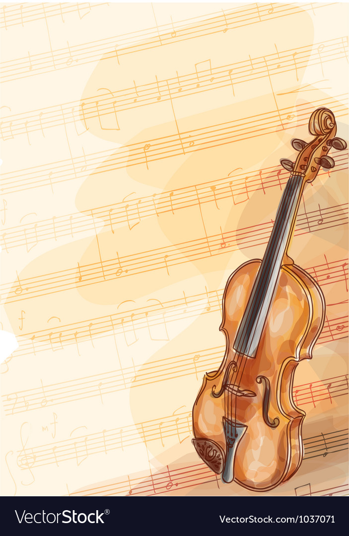 Violin on music background with handmade notes vector | Price: 1 Credit (USD $1)