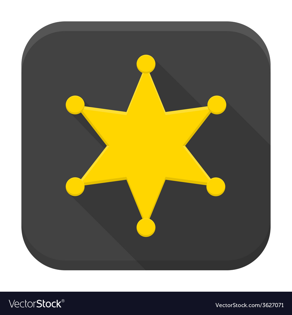Western sheriff star flat app icon with long vector | Price: 1 Credit (USD $1)