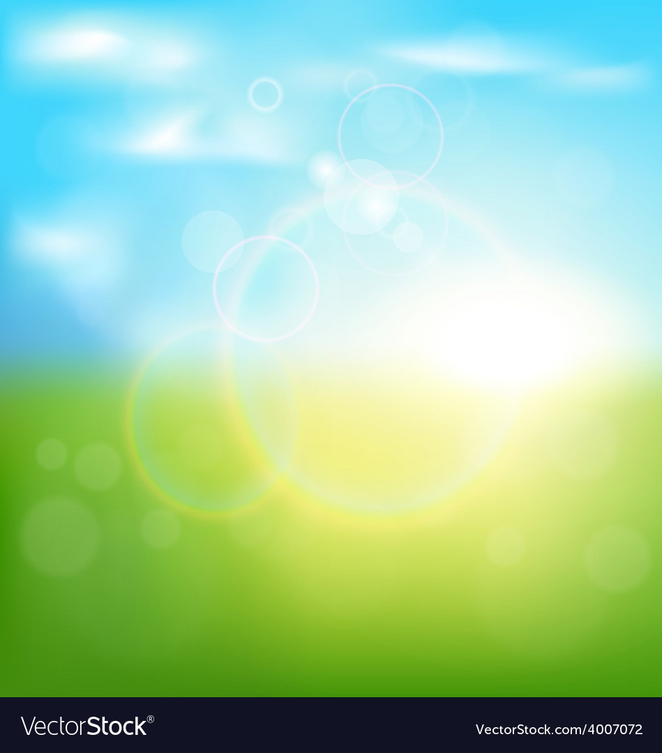 Abstract spring background with sunrise and grass vector | Price: 1 Credit (USD $1)