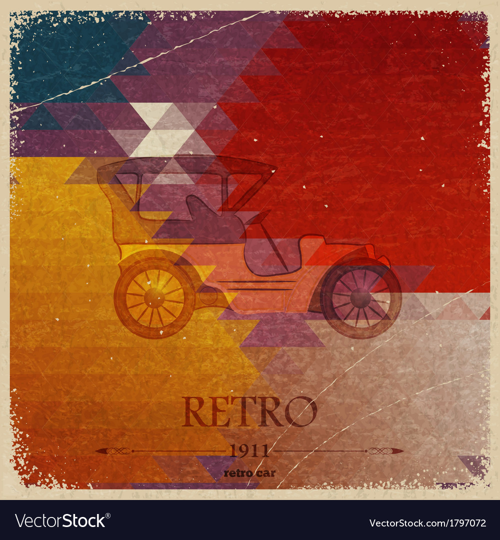 Abstract vintage background with retro automobile vector | Price: 1 Credit (USD $1)