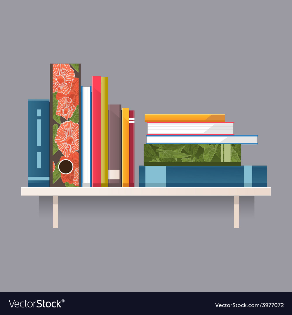 Colorful books on a shelf vector | Price: 1 Credit (USD $1)