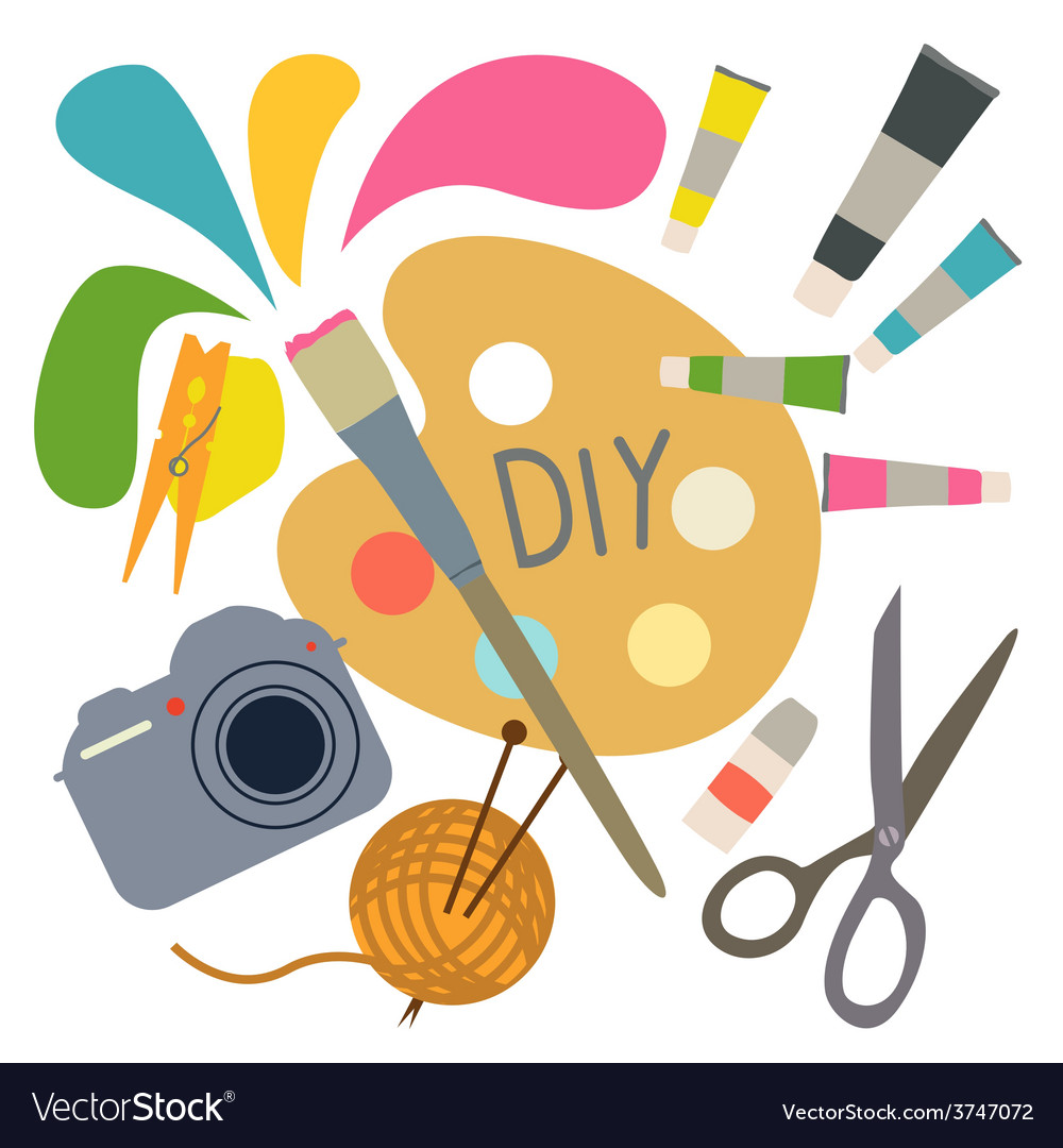 Composition from hobby tools vector | Price: 1 Credit (USD $1)