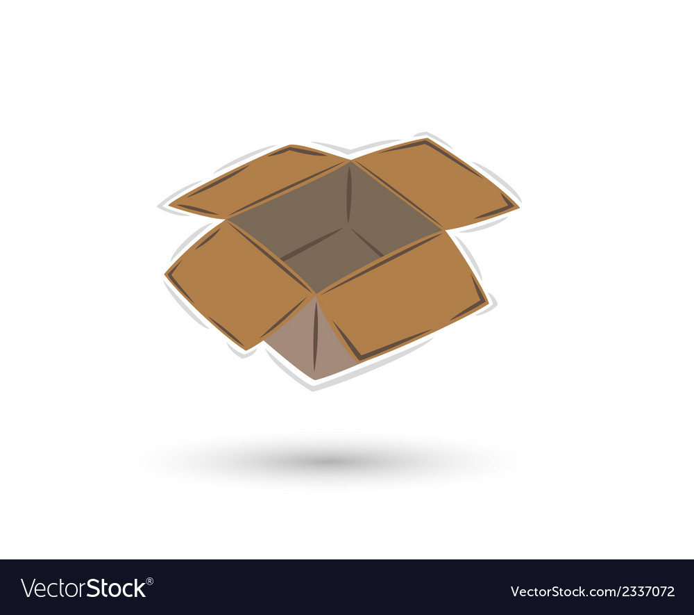 Empty open brown paper box with shadow vector | Price: 1 Credit (USD $1)