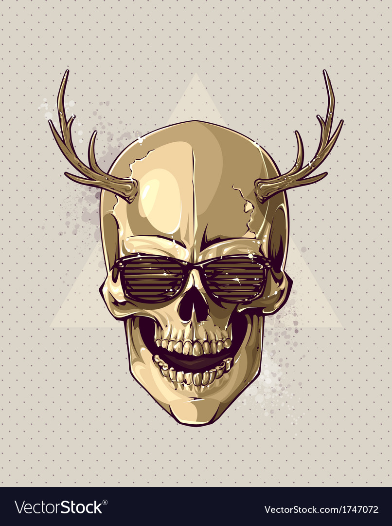 Hipster gold skull vector | Price: 1 Credit (USD $1)