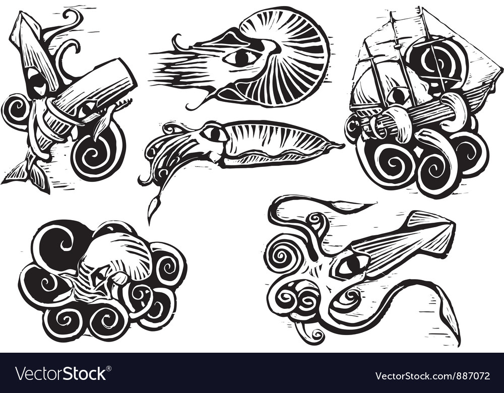 Octopus squid group vector | Price: 1 Credit (USD $1)