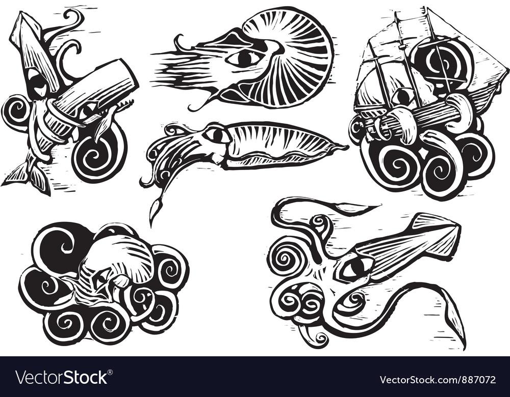 Octopus squid group vector | Price: 1 Credit (USD $1)