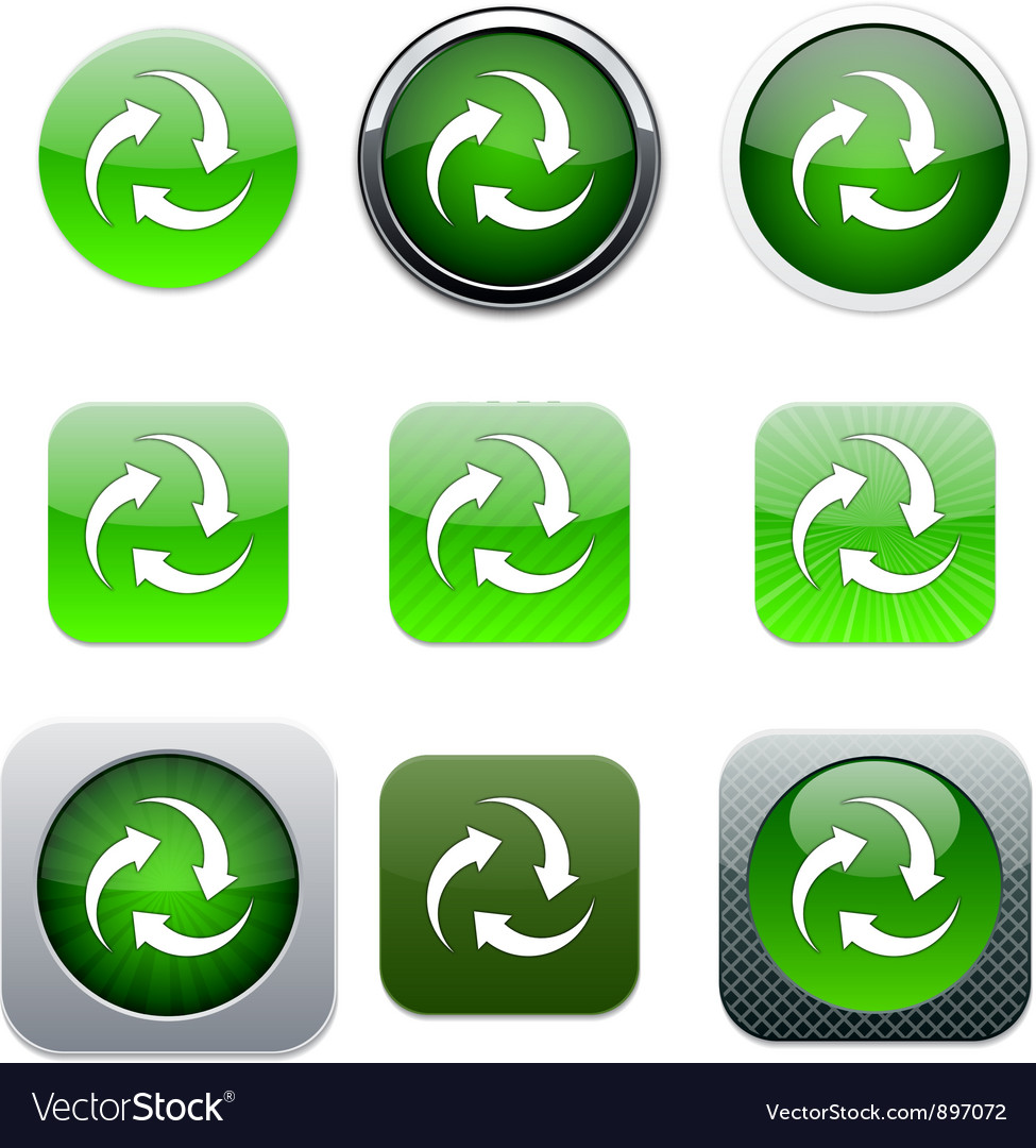 Recycle green app icons vector | Price: 1 Credit (USD $1)