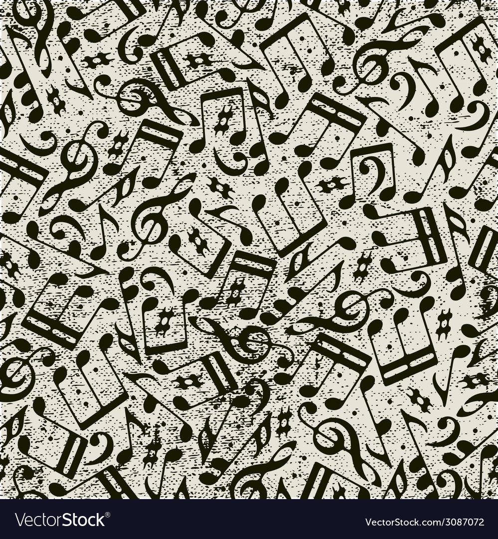 Seamless music background with notes vector | Price: 1 Credit (USD $1)