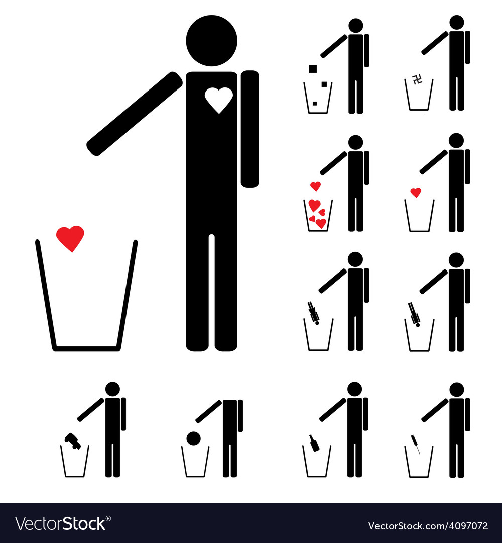 Set of eleven figures throwing in the trash heart vector | Price: 1 Credit (USD $1)
