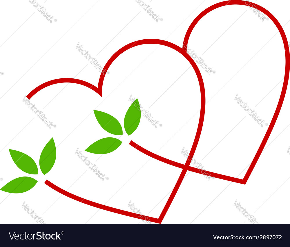 Two hearts with leaves- logo for matrimony vector | Price: 1 Credit (USD $1)
