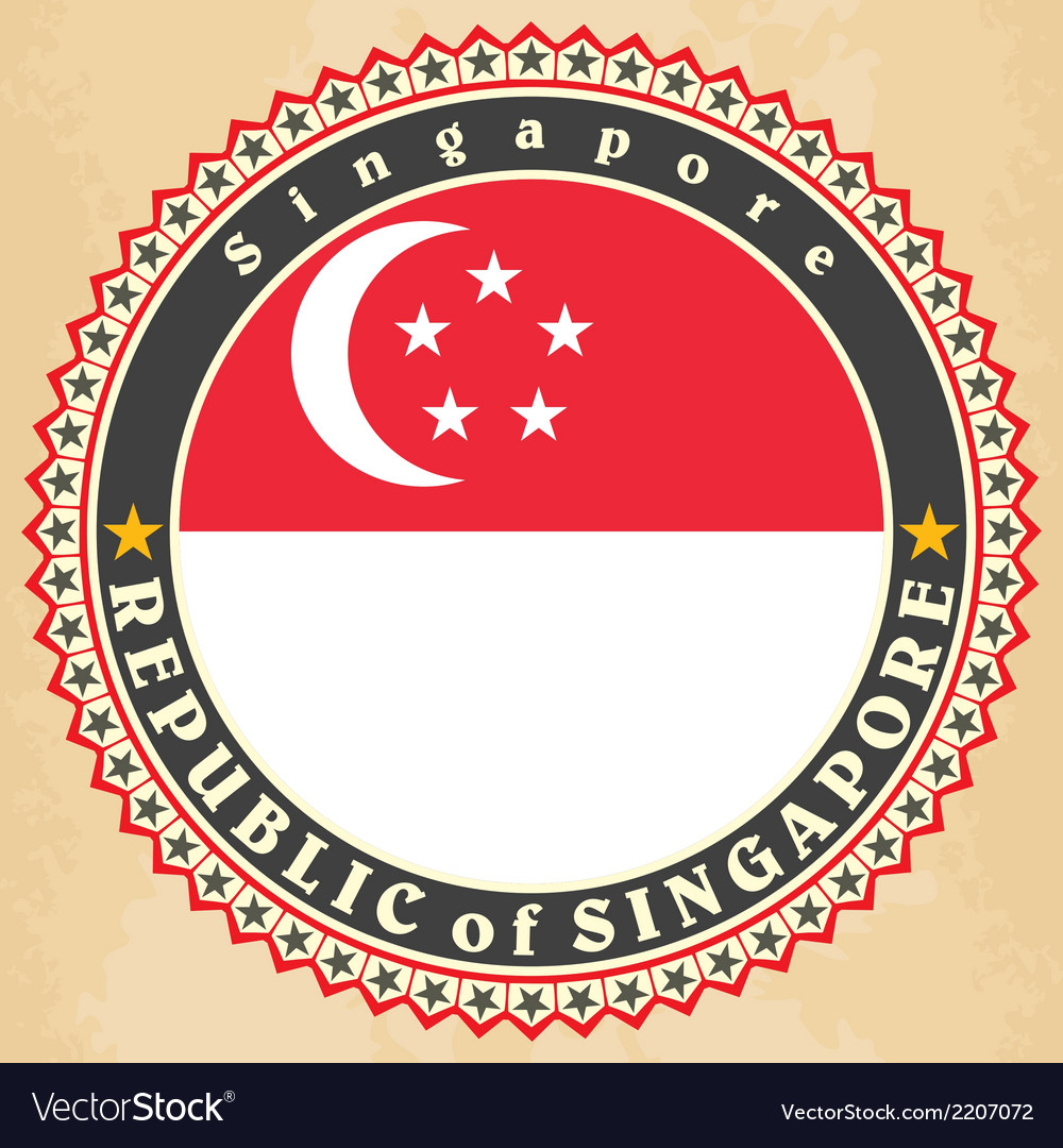 Vintage label cards of singapore flag vector | Price: 1 Credit (USD $1)