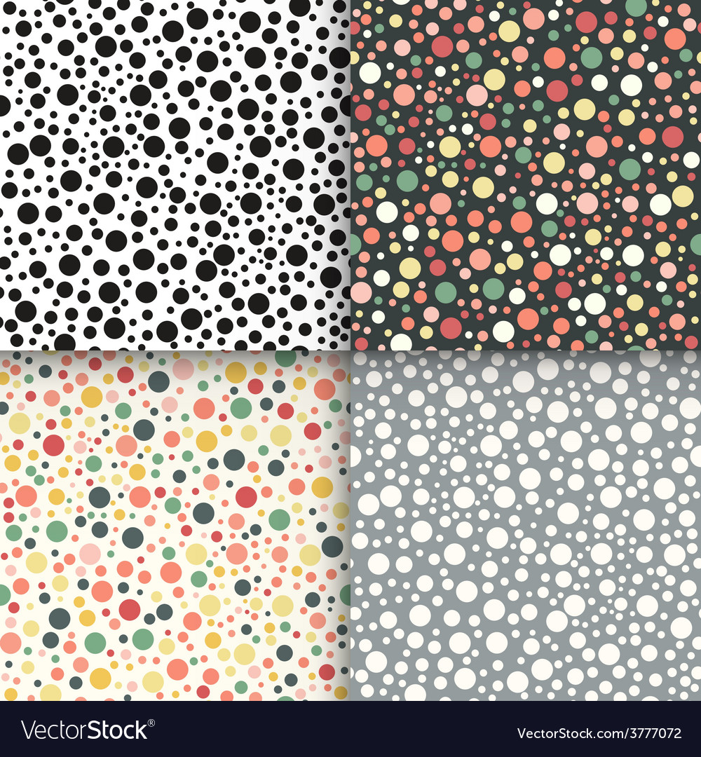 Vintage polka dot seamless patterns set vector | Price: 1 Credit (USD $1)