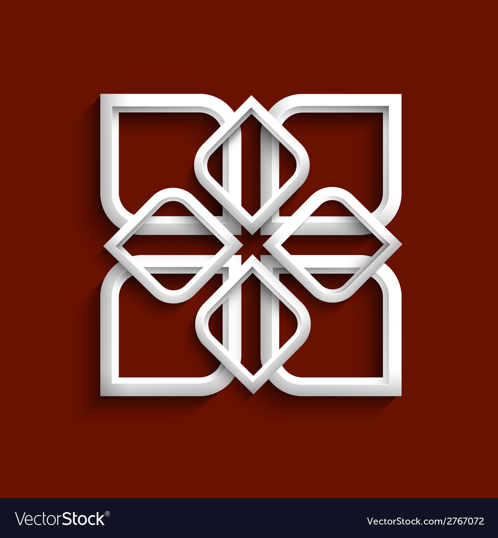 White 3d ornament in arabic style vector | Price: 1 Credit (USD $1)