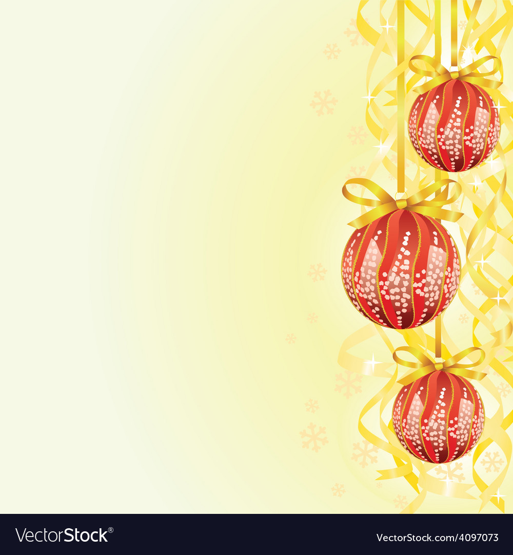 Bulb and ribbon christmas background vector | Price: 1 Credit (USD $1)