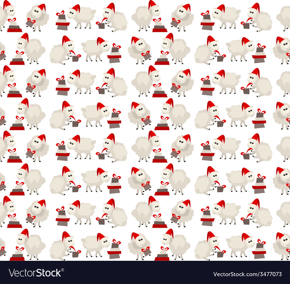 Christmas seamless pattern with sheep in santa cap vector | Price: 1 Credit (USD $1)