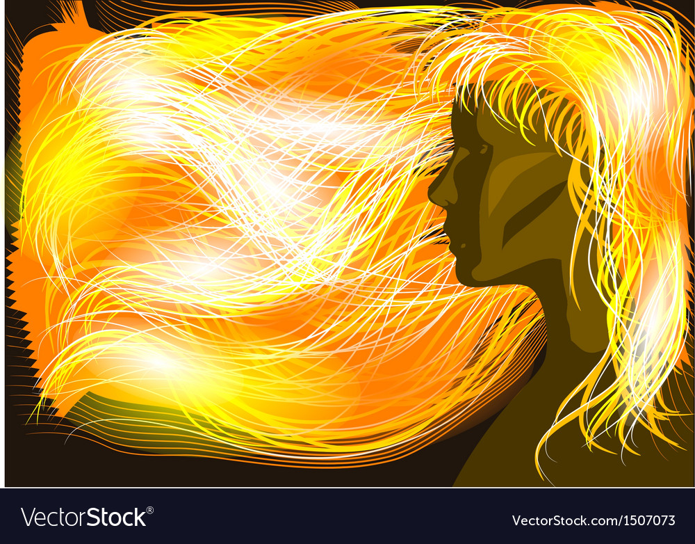 Girl with flaming hair vector | Price: 1 Credit (USD $1)