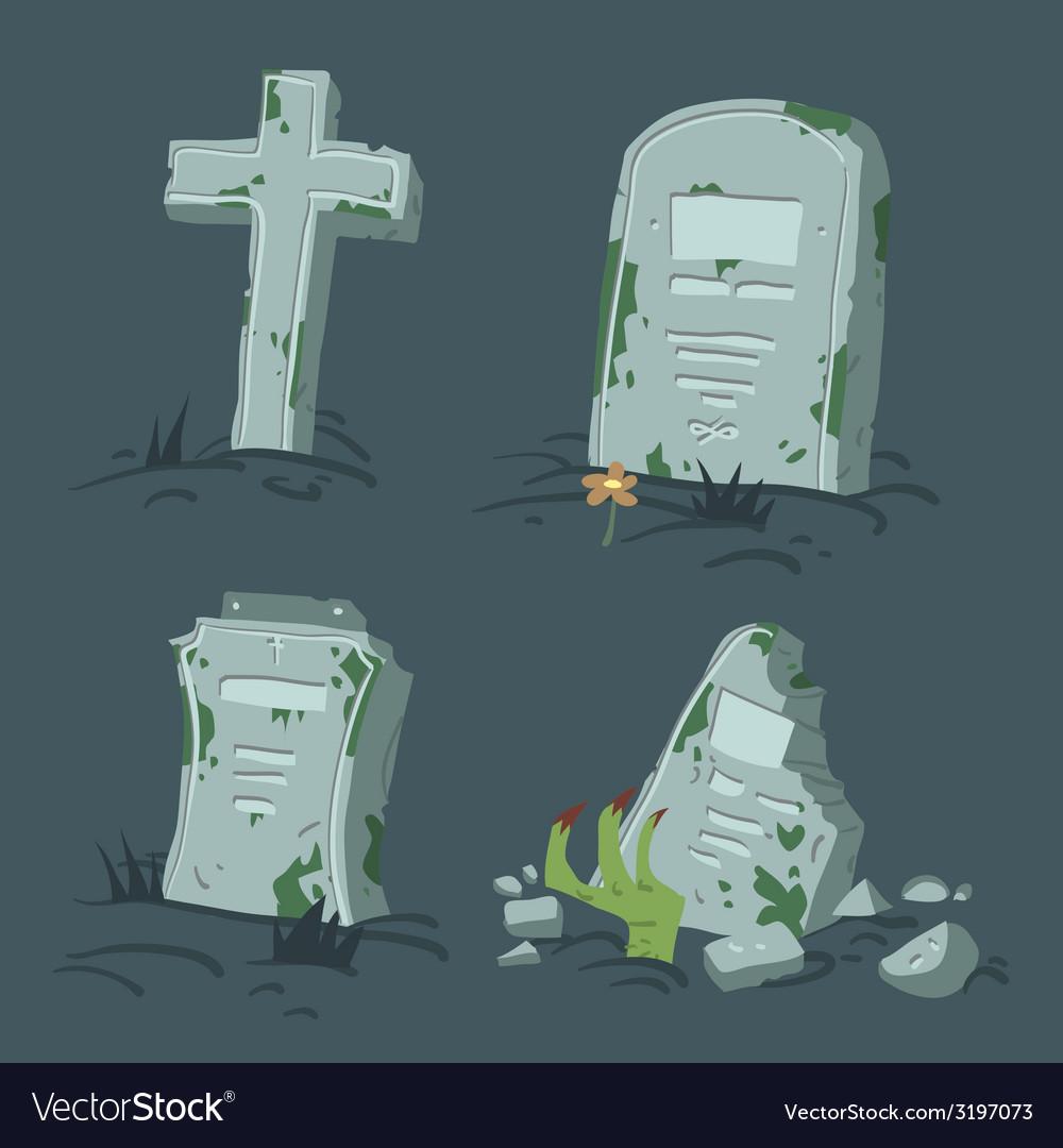 Halloween tombs set vector | Price: 1 Credit (USD $1)