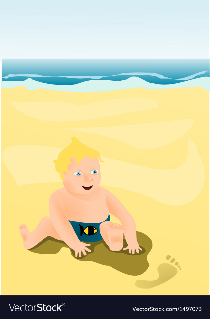 Little child playing on the beach vector | Price: 1 Credit (USD $1)